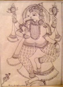 Ink Drawing of Ganesh from Chennai, India; collected by @journeywoman