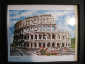 Watercolor of Collosseum from Rome, Italy; collected by @KirbyRenee