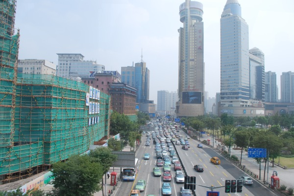 Busy streets of Shanghai from the road.
