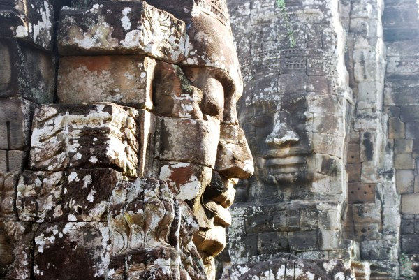 Monumental faces at Bayon Temple.