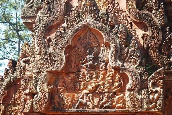 Extremely detailed carvings at Banteay Srei.