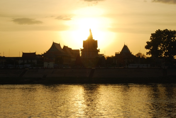 View of Phnom Penh from the river.