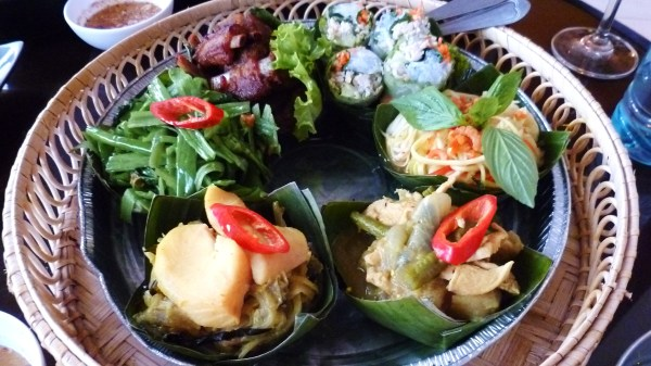 Sampler of traditional Khmer dishes.