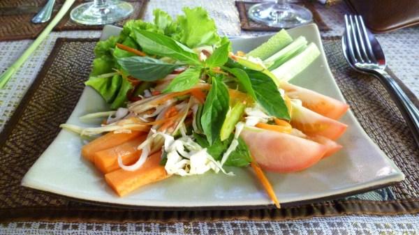 Delicious papaya salad ready for eating.