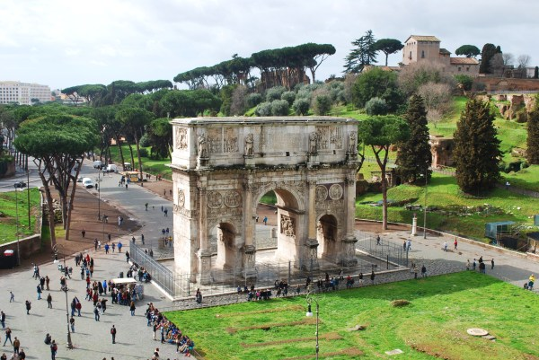 View of Arch of Constantine from the 3rd tier of the Colosseum.
