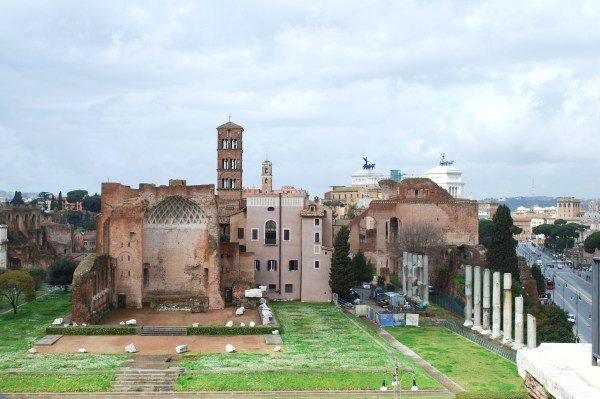 View of Rome and Temple of Venus and Roma from atop the Colosseum.