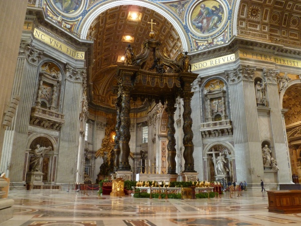Bernini's baldacchino at the intersection of the nave and transept in St. Peter's.