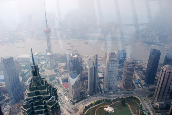 View of Pudong from World Financial Center.